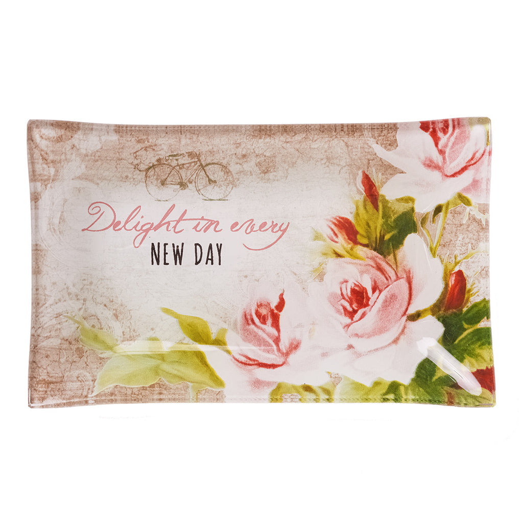 Delight in Every Day Glass Trinket Tray