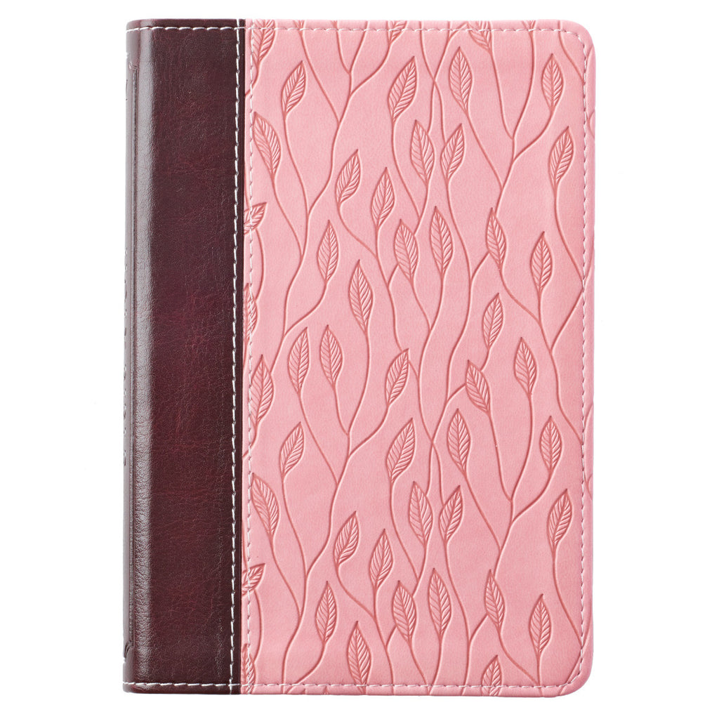 Brown and Pink Leaf Design KJV Bible Compact