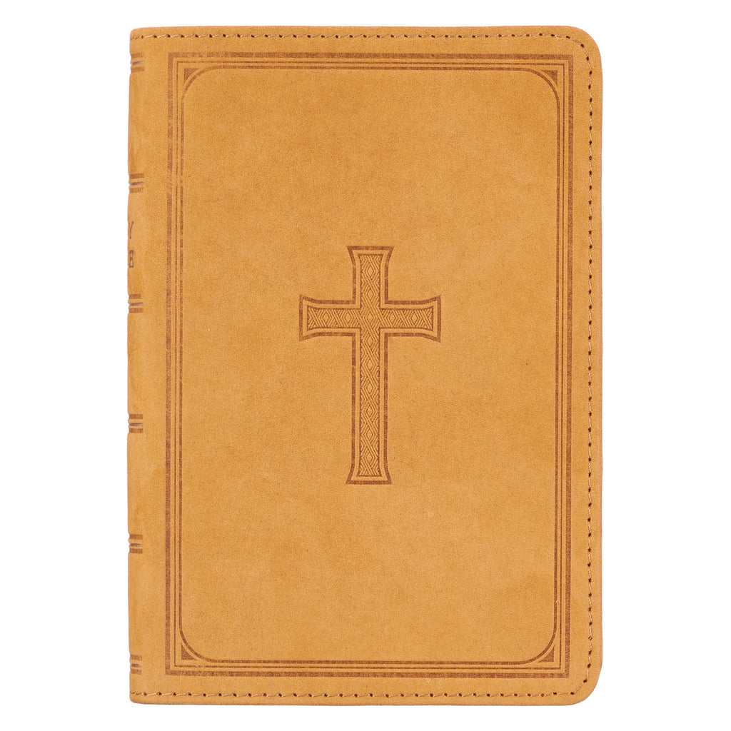 KJV Premium Leather Bible in Tan, Large Print, Compact