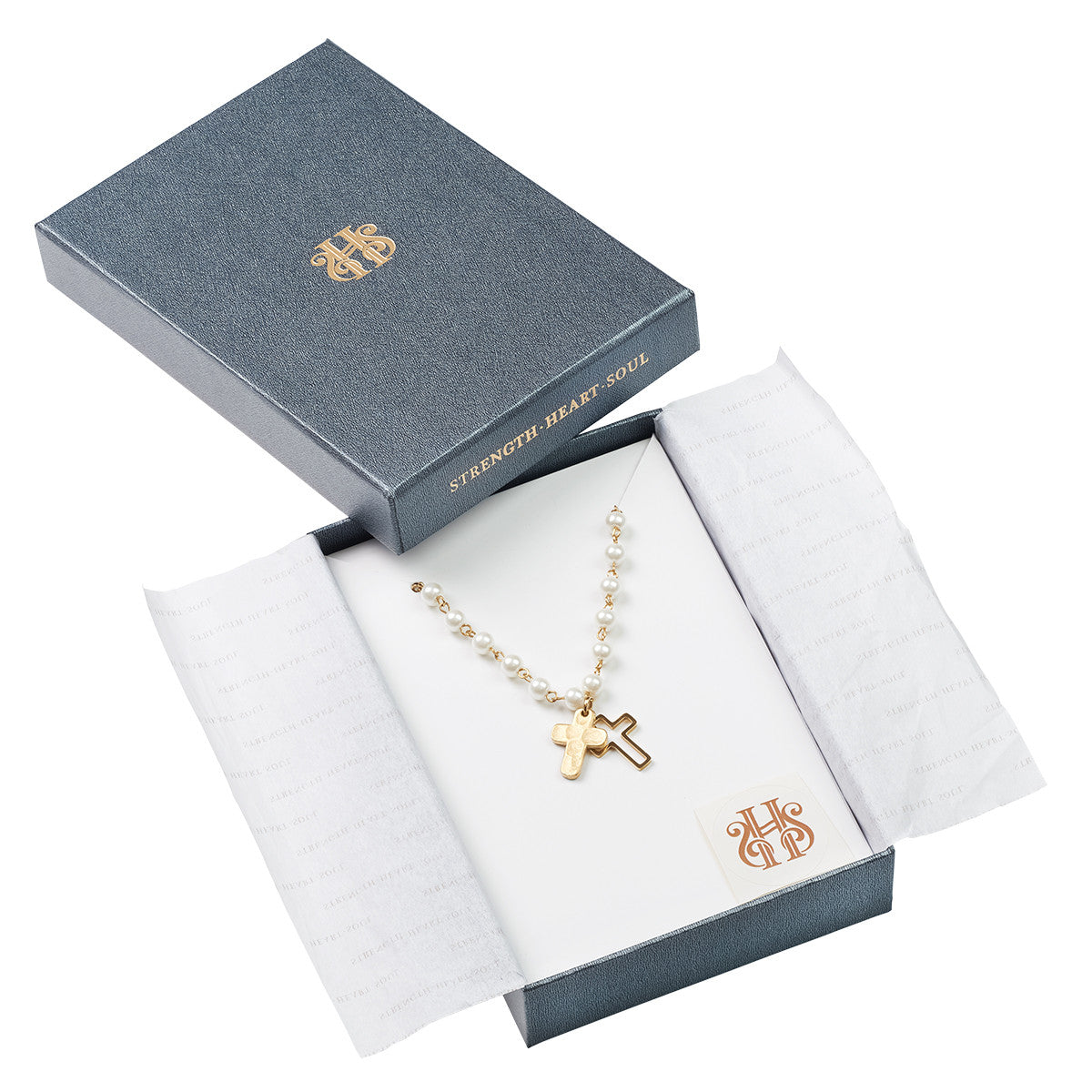 Double Cross And Glass Pearl Necklace