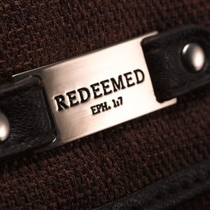 "Brown Linen Look Wallet w/""Redeemed"" Badge"