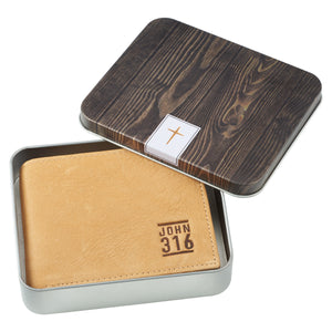 John 3:16 in Tan Leather Wallet in Tin