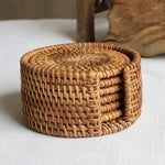 Load image into Gallery viewer, Rattan Cup Coasters Set
