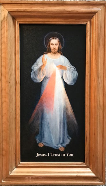 Divine Mercy Image (Vilnius) Canvas framed in Cherry wood, 10x18 /FEEE SHIPPING