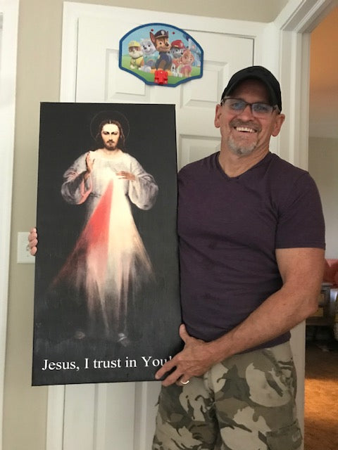 16x32 Vinyl Wrapped Divine Mercy Image with Oil Finish (FREE SHIPPING)