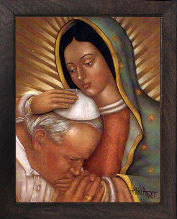 11x14/16x20 John Paul II and Mary (Canvas, framed in solid wood) FREE SHIPPING)