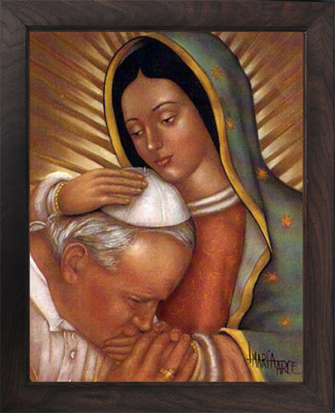 John Paul II and Mary (Canvas, framed in solid wood) FREE SHIPPING)
