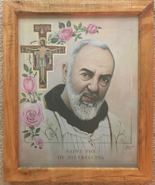 Padre Pio 16x20 (Canvas framed in maple wood) Free Shipping