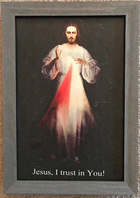 Divine Mercy image  12x18 (Vilnius) Framed with oil texture on canvas (FREE SHIPPING)