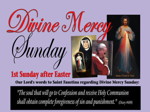 A Divine Mercy Sunday Poster/ 12x18 full color gloss finish, quantity 2. (Free Shipping)