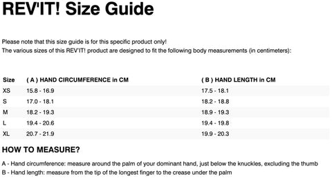 REV'IT! FLY 3 LADIES GLOVES SIZE CHART