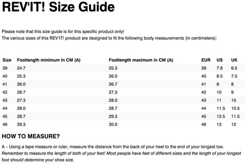 REV'IT! GINZA 2 BOOTS SIZE CHART