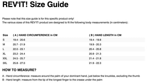 REV'IT! CRATER 2 WSP GLOVES SIZE CHART