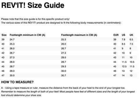 REV'IT! ASTRO SHOES SIZE CHART