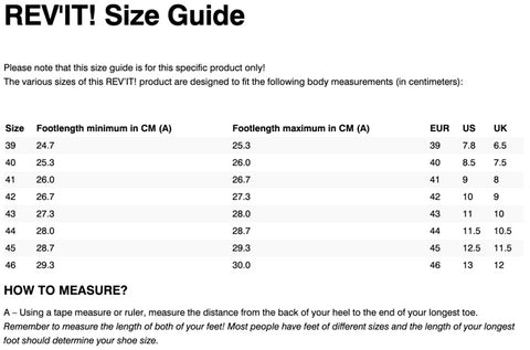 REV'IT! MOHAWK 2 BOOTS SIZE CHART