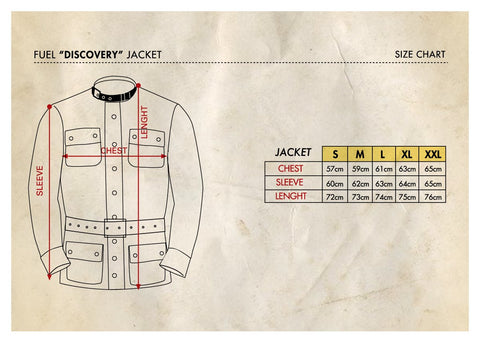 FUEL DISCOVERY JACKET SIZE CHART