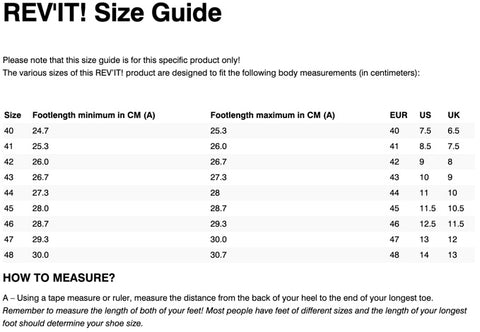 REV'IT! EXPEDITION H20 BOOTS SIZE CHART