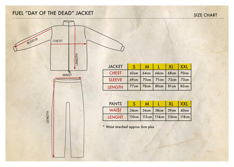 FUEL DAY OF THE DEAD RAIN SUIT SIZE CHART