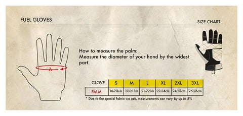 FUEL GLOVES SIZE CHART