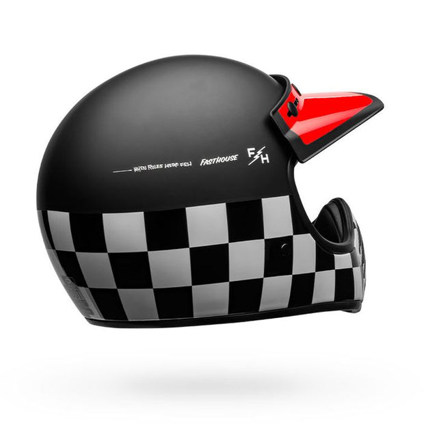BELL MOTO 3 FASTHOUSE CHECKERS MATTE-GLOSS BLACK-WHITE-RED