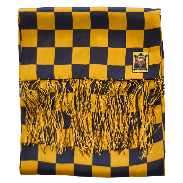 GOLDTOP 100% SILK CHECKERED FLAG SCARF - BLACK & GOLD