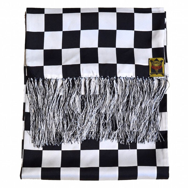 GOLDTOP 100% SILK CHECKERED FLAG SCARF - BLACK & OLD ENGLISH WHITE