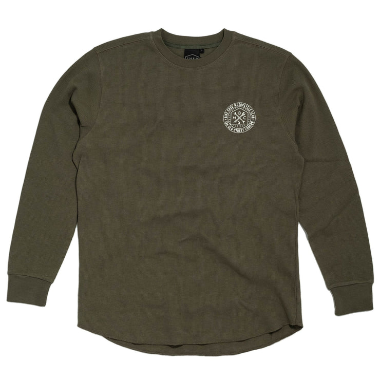 THE BIKE SHED ROUNDEL LONG SLEEVE WAFFLE KHAKI - CLEARANCE SALE!