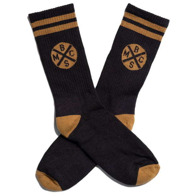 THE BIKE SHED HEADLIGHT SOCKS BLACK/GOLD