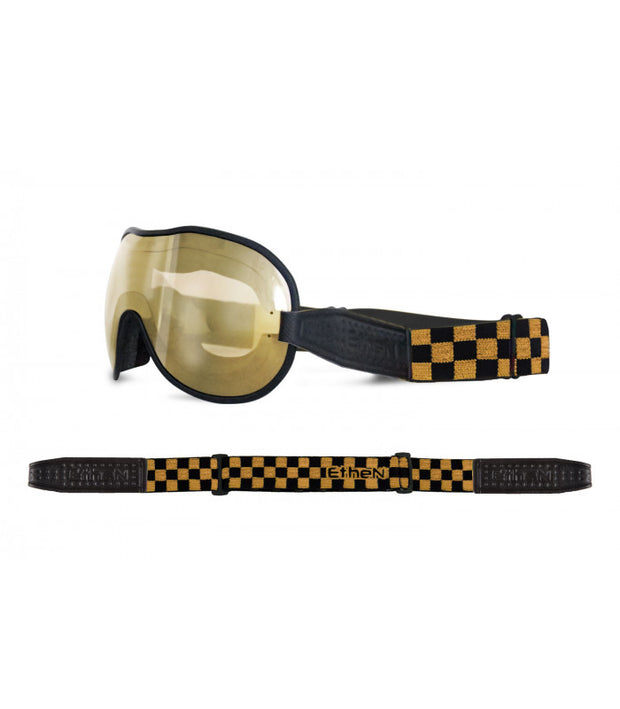 ETHEN CAFE RACER GOGGLE MIRROR BRONZE PHOTOCHROMIC LENS - CHESS BLACK/GOLD