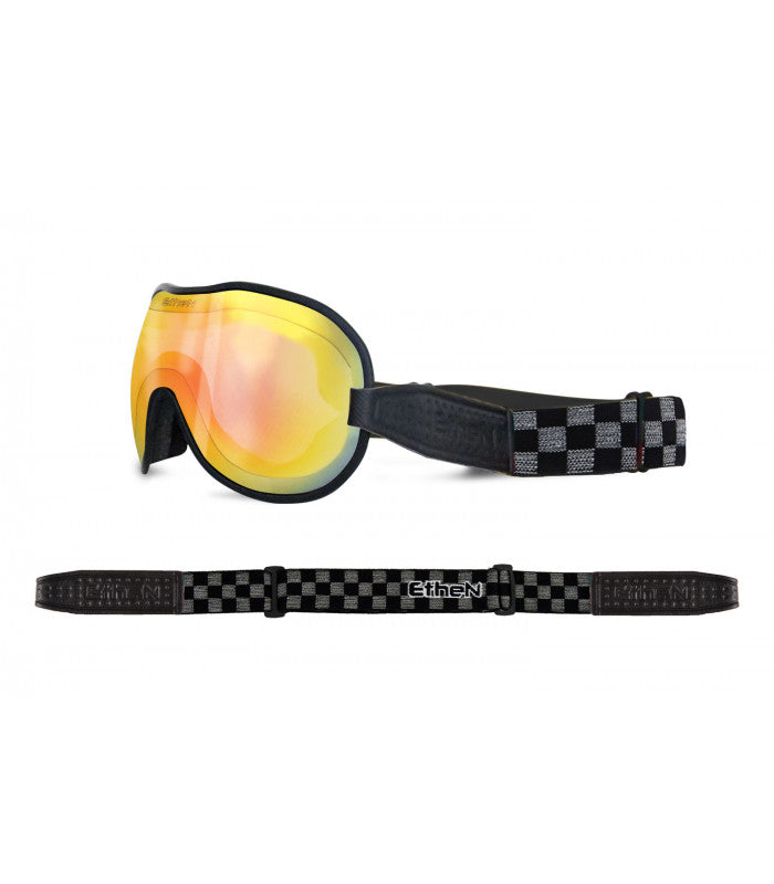 ETHEN CAFE RACER GOGGLE MIRROR RED PHOTOCHROMIC LENS - CHESS BLACK/GREY