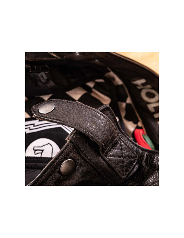 HOLY FREEDOM QUATTRO BLACK LEATHER MOTORCYCLE JACKET SIZE L - CLEARANCE SALE!