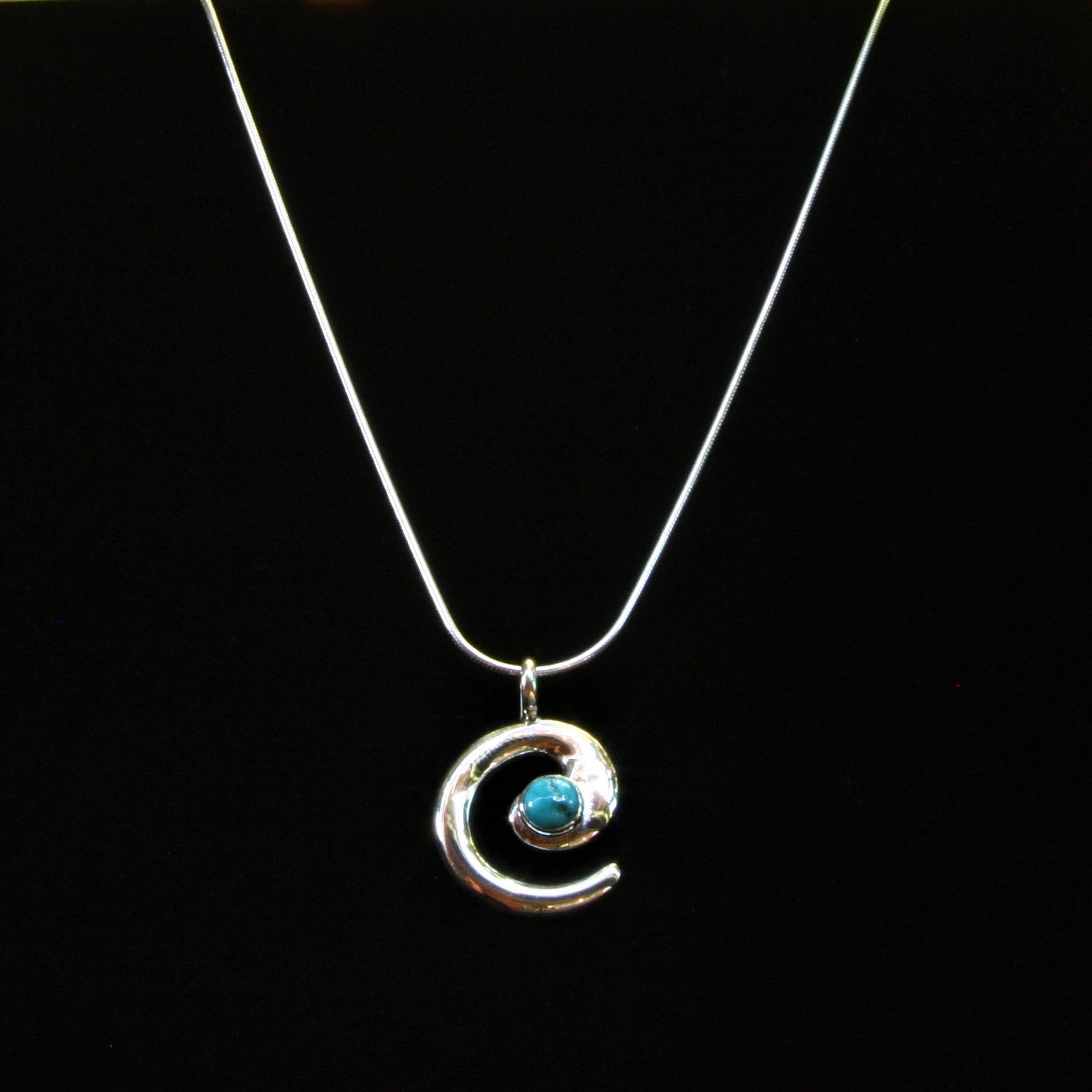 Navajo Circle of Life Pendant with Morenci Turquoise 1″
