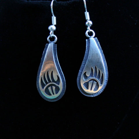 Hopi Bear Paw and Prayer Feathers Earrings 1.5″ Oval Silver Matte