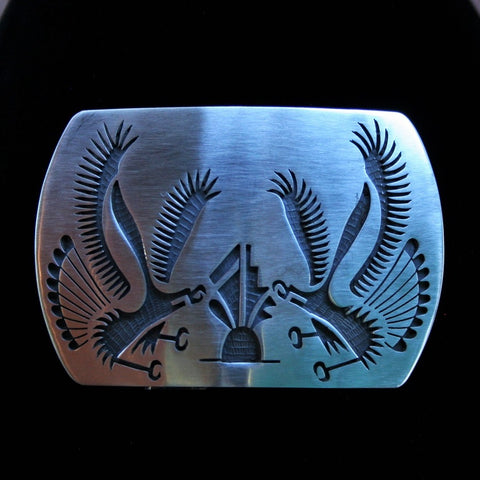 Hopi Eagle and Prayer Feathers Belt Buckle 3″ Rectangular Silver Matte