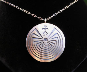 Hopi Man in the Maze Pendant 1.5″ Round Silver Matte
