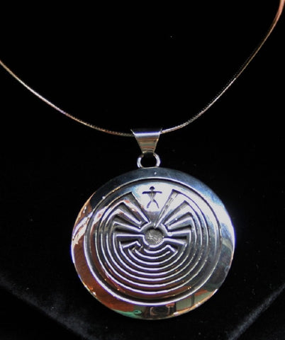Hopi Man in the Maze Pendant 2″ Round Glossy Silver