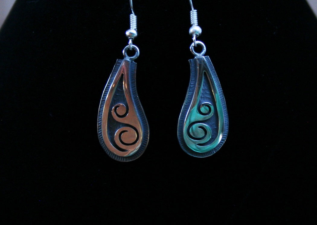 Hopi Water Earrings 1.5″ Oval Silver Matte