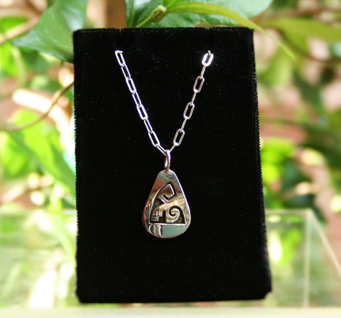 Hopi Water with Clouds Pendant 1″ Tear Drop Glossy Silver