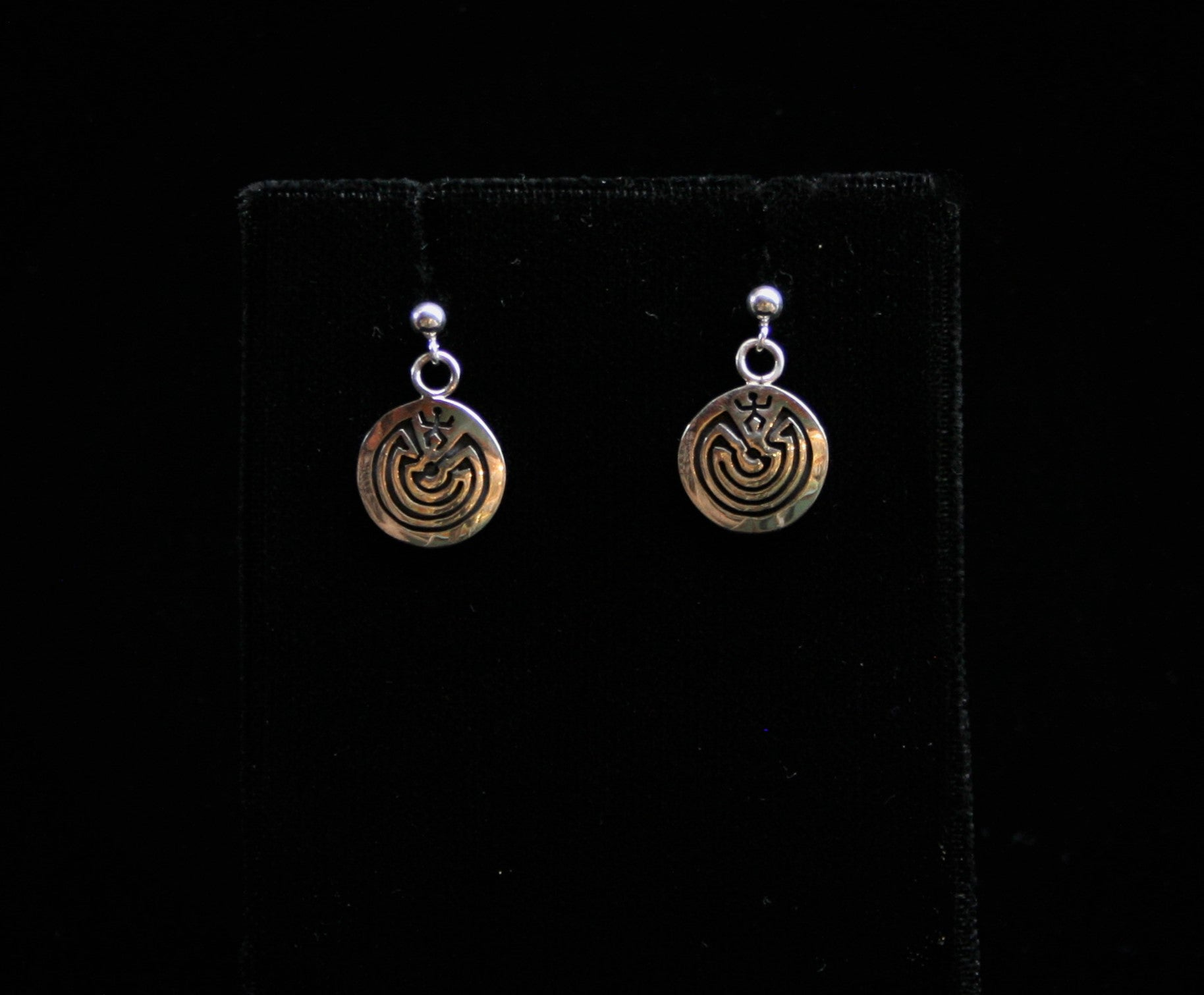 Hopi Man in the Maze Dangle/Post Earrings 1/2″