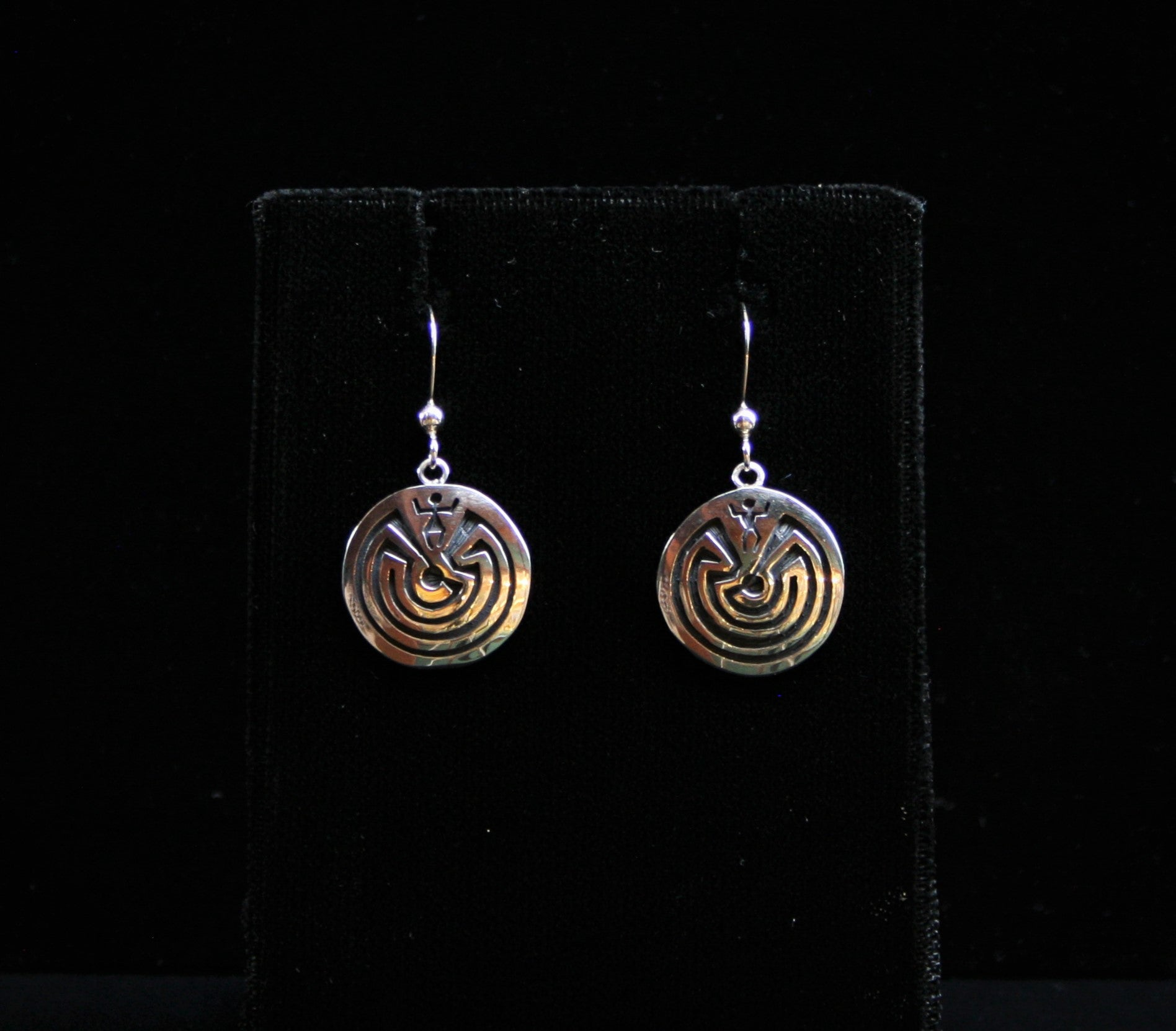 Hopi Man in the Maze Earrings 3/4″