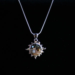Navajo Sun Pendant with Night Sky & Village with Precious Stones 2″