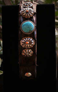 Navajo Leather Bracelet with Blue Ridge Turquoise & Spiny Oyster Shell 9.5″