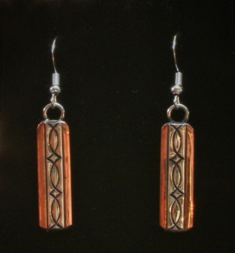 Navajo Silver and Copper Earrings 1″