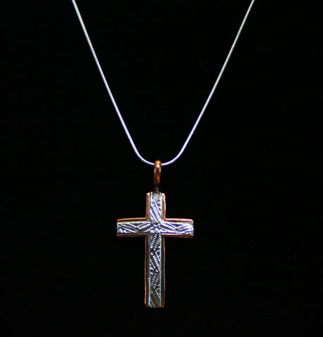 Navajo Silver and Copper Cross 2″