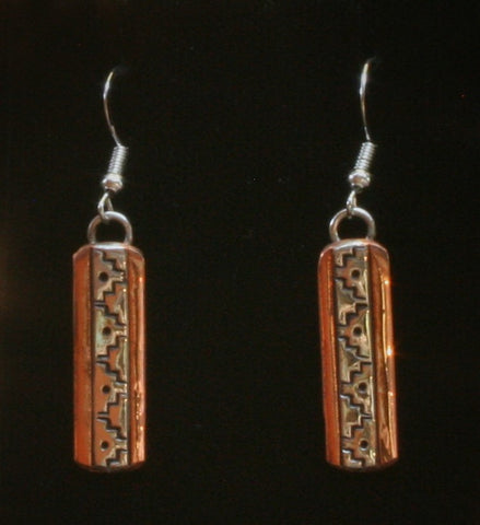 Navajo Silver and Copper Earrings with Mountains 1″