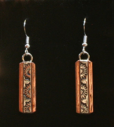 Navajo Silver and Copper Earrings with Sun 1″