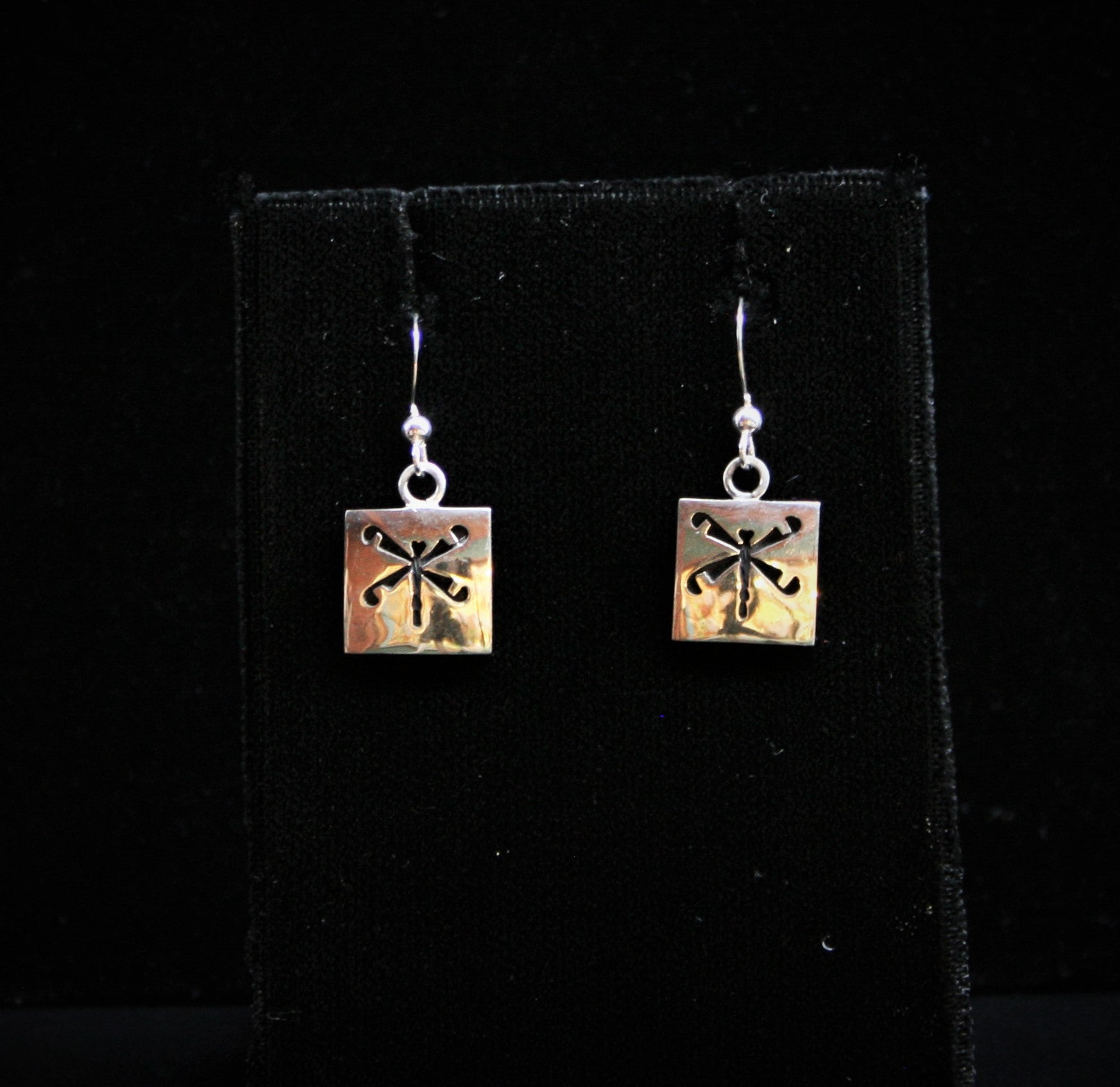 Hopi Square Dragonfly Earrings 1/2″