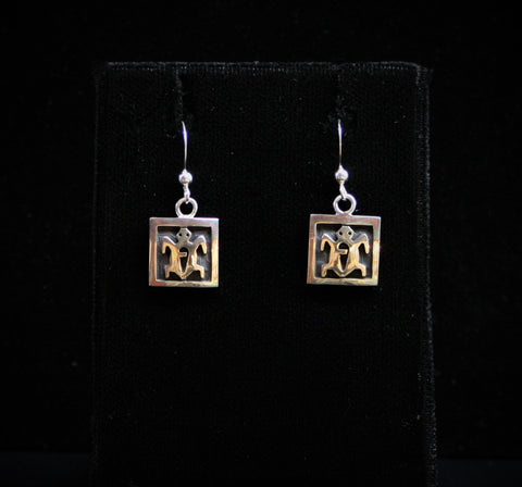 Hopi Square Turtle Earrings 1/2″