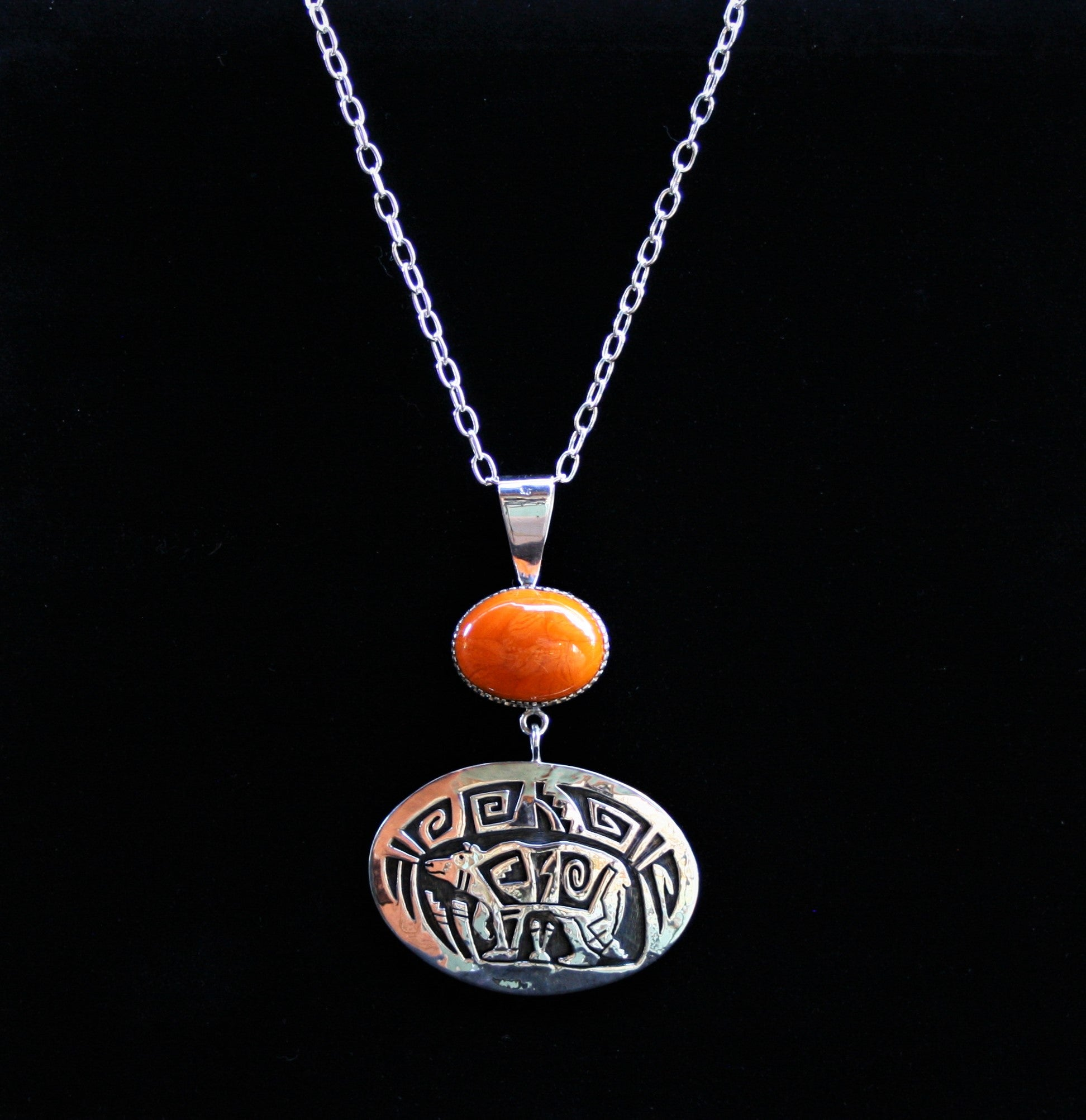 Hopi Bear Pendant with Orange Agate 3.5″