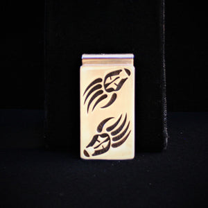 Hopi Bear Paw with Prayer Feathers Money Clip 2″ Matte Silver